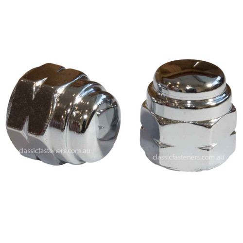 M10 x 1.25 Metric Fine Flat Top Dome Nut Chrome Plated