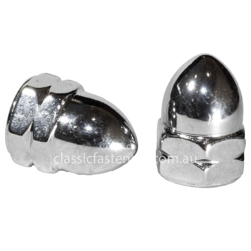 M10 x 1.25 Metric Fine High Crown Dome Nut Chrome Plated