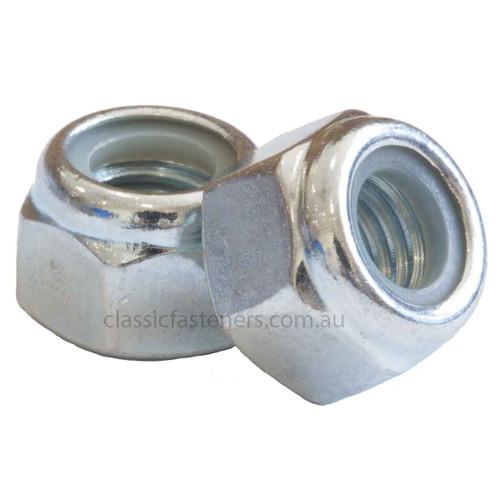M6 (1.00mm) Nylon Insert Lock Nut Zinc