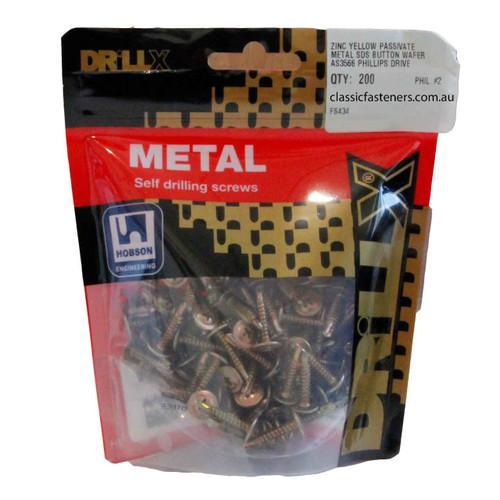 8G-18 x 20mm Zinc Button Metal Self Drilling Screw - 200 pc