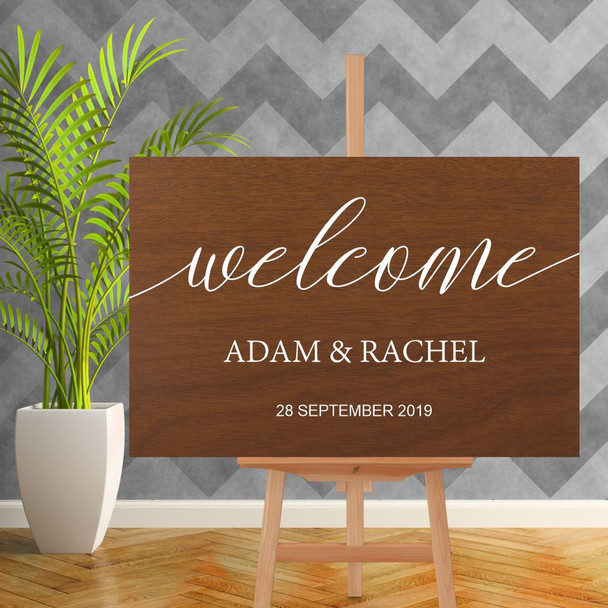 Wood Wedding Welcome Sign - 900mm x 600mm - Single Colour - White