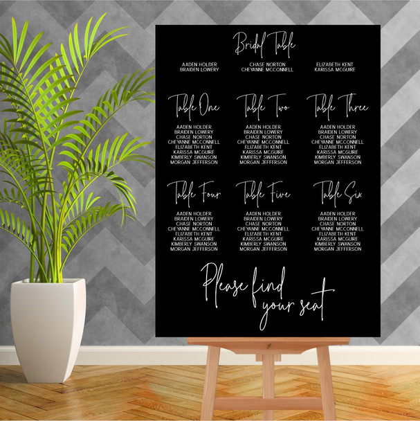 Black Acrylic Wedding Seating Chart - 900mm x 600mm - Single Colour - White