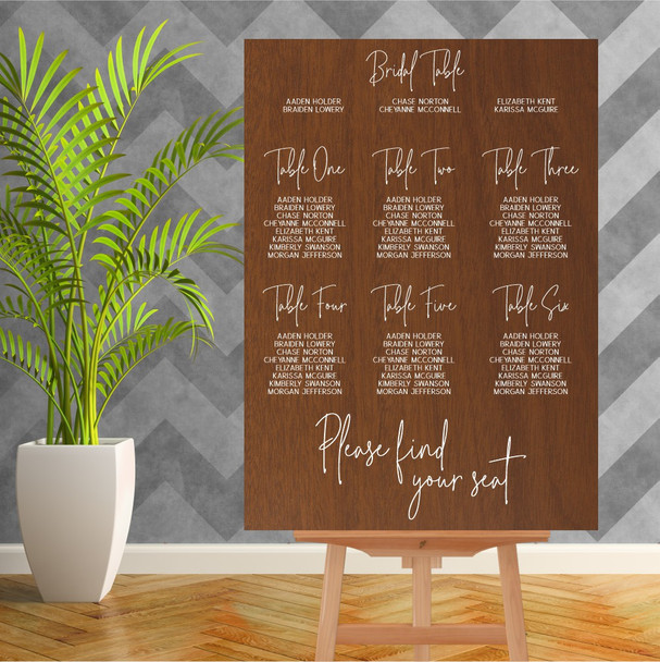Wood Wedding Seating Chart - 900mm x 600mm - Single Colour - White
