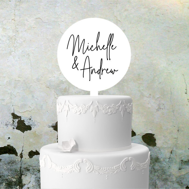 White Acrylic Wedding Cake Topper - Circle with Spike - 150mm Diam - Single Colour Printing