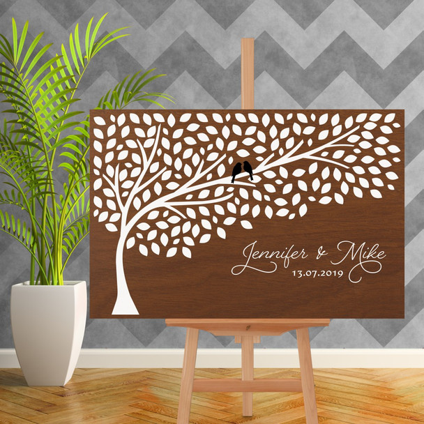 Wood Wedding Guest Book Sign with Tree - 900mm x 600mm - Single Colour White