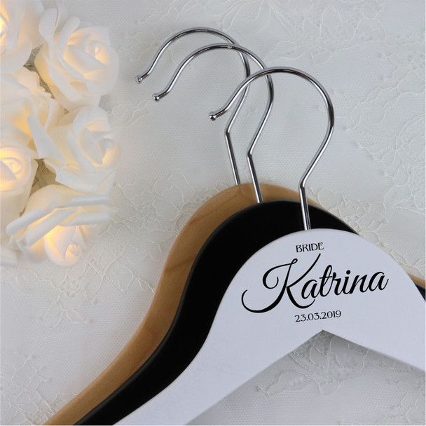 Wood Wedding Hanger with Bar - BRIDE + Name + Date