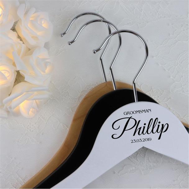 Wood Wedding Hanger with Bar - Groomsman + Name + Date