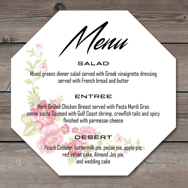 White Acrylic Wedding Menus Octagon - 150mm x 150mm - Full Colour