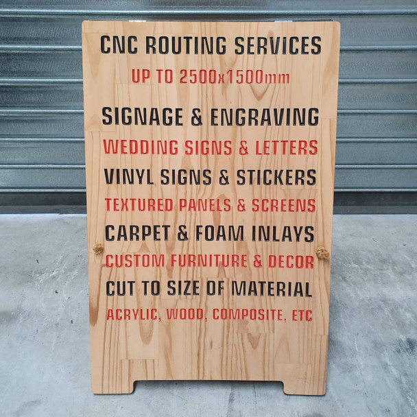 Custom wood A-frame sign with 3D engraved text - Painted letters