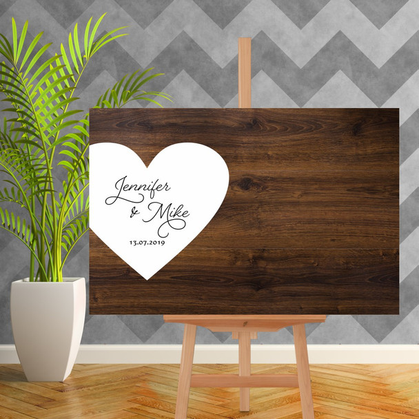 Wood Wedding Guest Book Sign with Heart - 900mm x 600mm - Single Colour - White