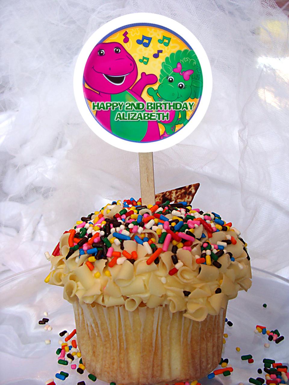 Stupendous Barney Personalized Cupcake Toppers Personalised Birthday Cards Xaembasilily Jamesorg