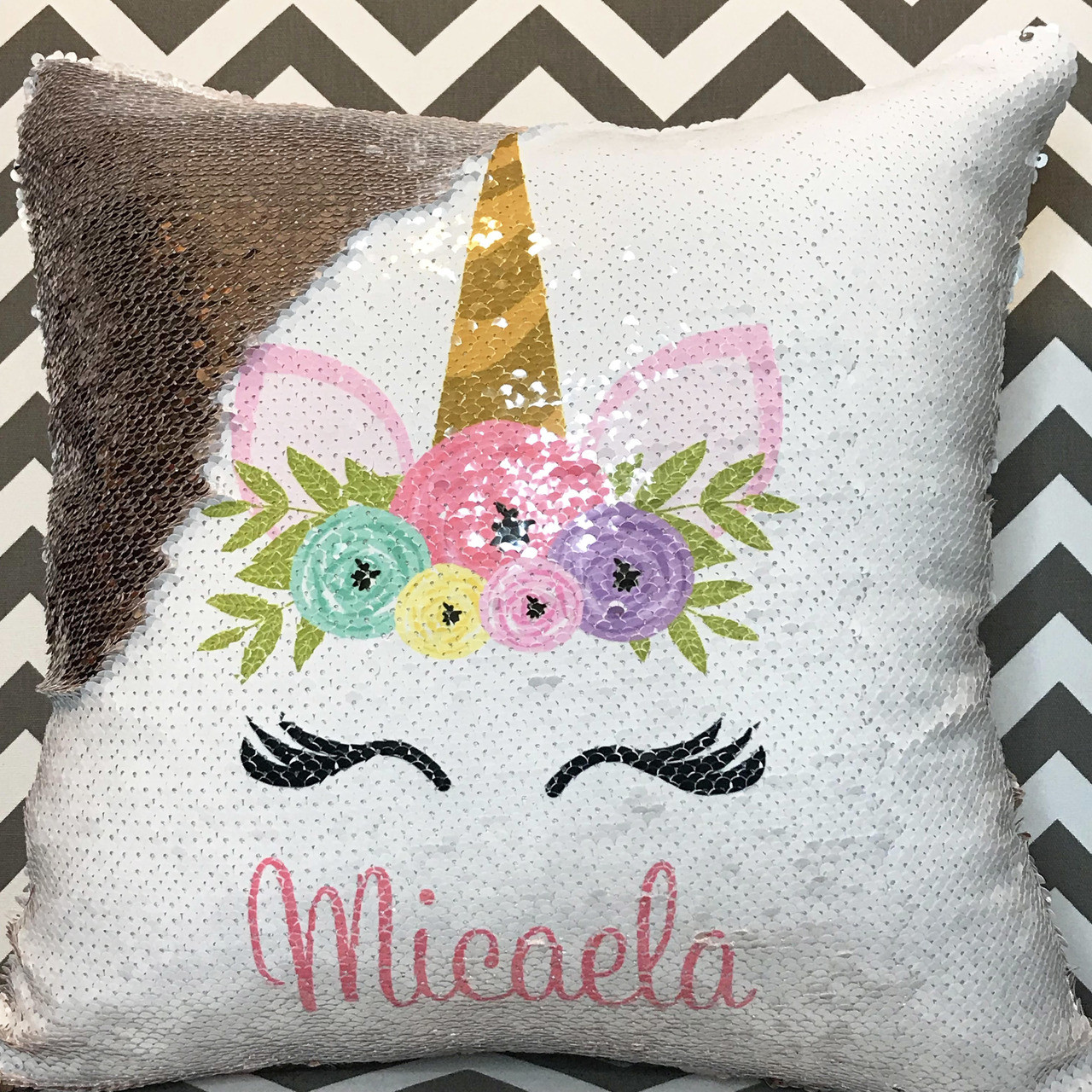 Personalized Unicorn Design Flip Sequin Pillow 7 Colors Available