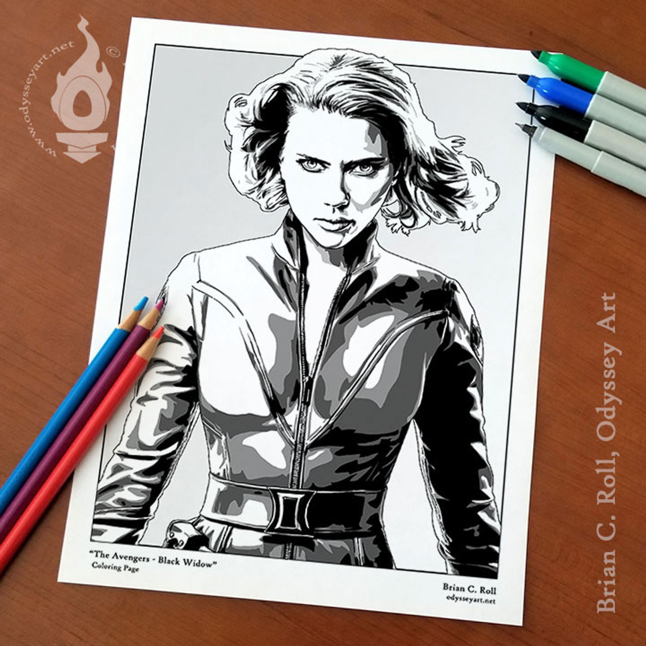 Black Widow Coloring Page Odyssey Art Art Of Brian C Roll