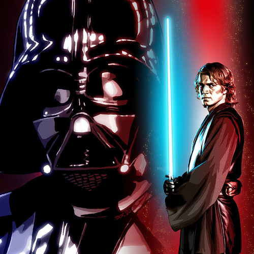 "Darth Vader and Anakin Skywalker art print 8.5""x11"", Brian C. Roll, Odyssey Art, thbnail"
