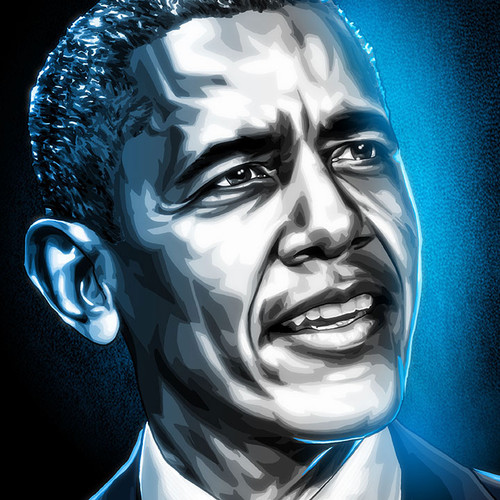 "President Barack Obama 11""x17"" art print from our Black & White & Blue series, Brian C. Roll, thbnail"