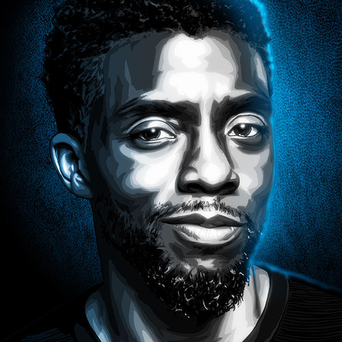 """Chadwick Boseman 11""""x17"""" art poster from our Black & White & Blue series by Brian C. Roll, thbnail"""