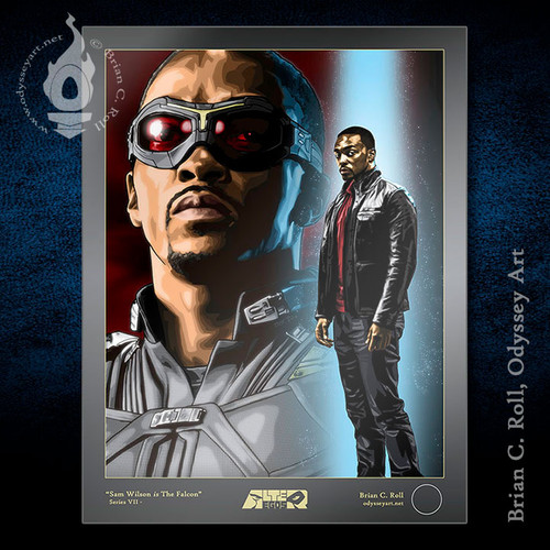 "Anthony Mackie and The Falcon art Sam Wilson print 8.5""x11"", Brian C. Roll, Odyssey Art"