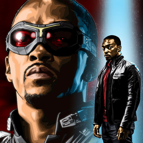 "Anthony Mackie and The Falcon art Sam Wilson print 8.5""x11"", Brian C. Roll, Odyssey Art, thbnail"