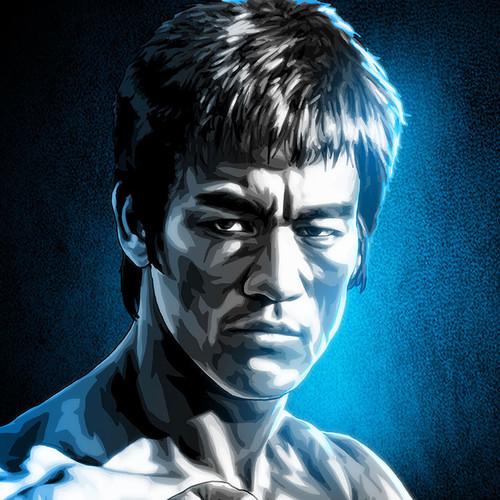 """Bruce Lee art, 11""""x17"""" print from our Black & White & Blue series by Brian C. Roll, Odyssey Art, thbnail"""