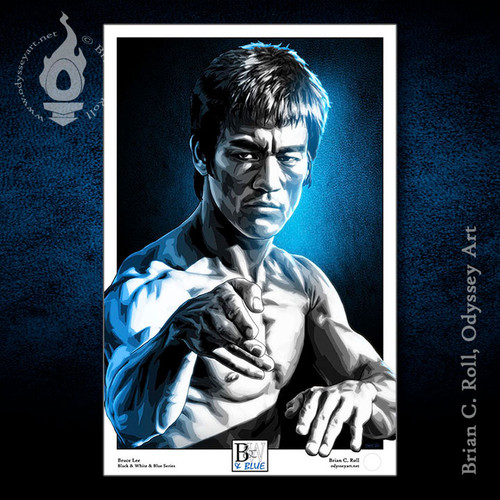 """Bruce Lee art, 11""""x17"""" print from our Black & White & Blue series by Brian C. Roll, Odyssey Art"""