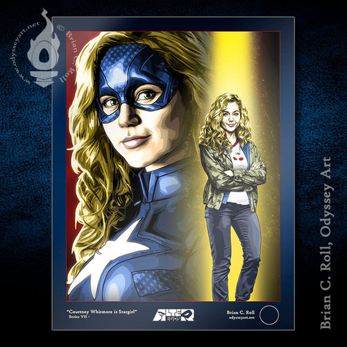 Brec Bassinger portrays Courtney Whitmore and Stargirl in this art print by Brian C. Roll, Odyssey Art.