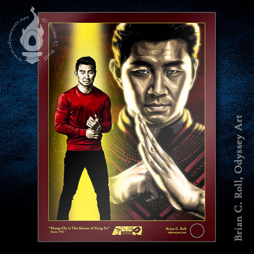 Simu Liu is Shang-Chi and The Master of Kung Fu, art print by Brian C. Roll, Odyssey Art.