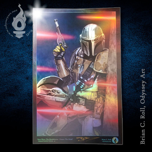 """Star Wars: The Mandalorian """"Protect the Child"""" 11x17 limited edition wall art by Brian C. Roll, Odyssey Art"""