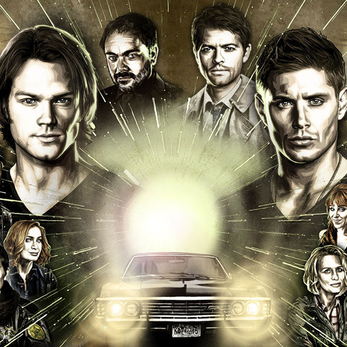 """Supernatural wall art as a Diptych, two 11""""x17"""" prints form one imited edition art piece, thbnail"""