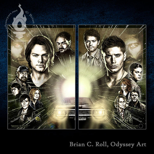 """Supernatural wall art as a Diptych, two 11""""x17"""" prints form one limited edition art piece!"""