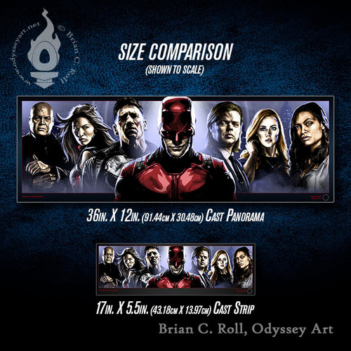 Daredevil: Hell's Kitchen Cast Panorama and Cast Strip size comparison, Brian C. Roll, Odyssey Art