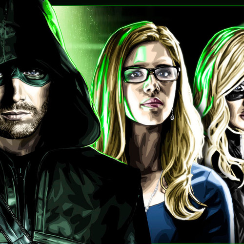 "Arrow, Stephen Amell, City of Heroes 17""x5.5"" cast print, Brian C. Roll, Odyssey Art, thbnail"