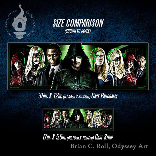 Arrow: City of Heroes Cast Panorama and Cast Strip size comparison, Brian C. Roll, Odyssey Art