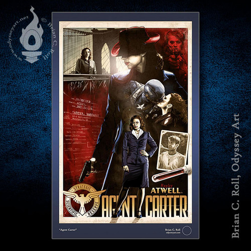 """Agent Carter, Peggy, Haley Atwell, 11""""x17"""" art print, Brian C. Roll"""