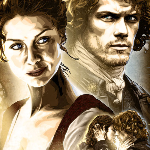 Outlander, Jamie Fraser, Sam Heughan, Claire Randall, Caitriona Balfe, XL Poster, Brian C. Roll, Odyssey Art, thbnail