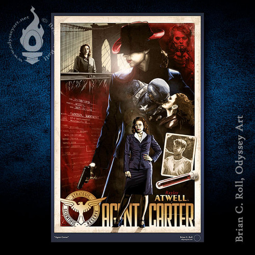 Agent Carter, Peggy, Hayley Atwell, XL Poster, Brian C. Roll, Odyssey Art