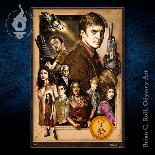 Firefly, Nathan Fillion, Serenity, XL Poster, Brian C. Roll, Odyssey Art