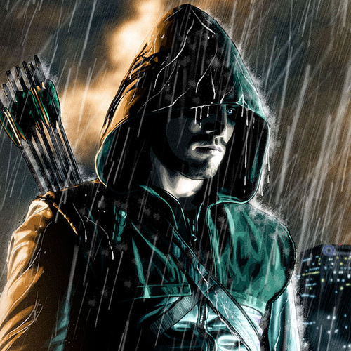 "Stephen Amell Green Arrow vinyl banner art print 24""x72"", Brian C. Roll, thbnail."