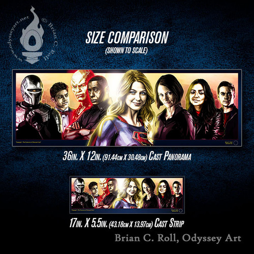 Supergirl: National City Cast Panorama and Cast Strip size comparison, Brian C. Roll, Odyssey Art