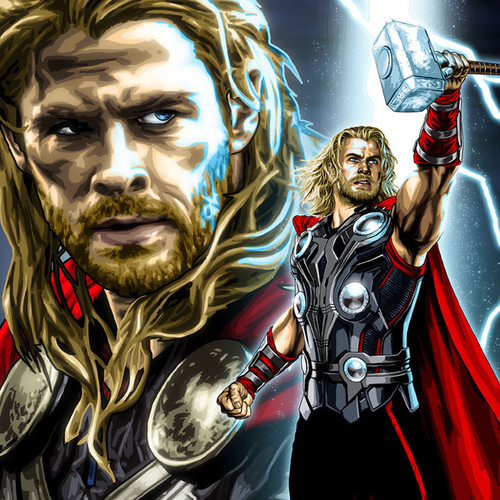 Thor, Chris Hemsworth, God of Thunder, Brian C. Roll, Odyssey Art, thbnail