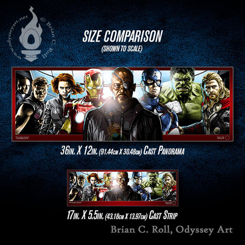 Avengers Initiative, Cast Panorama and Cast Strip size comparison, Brian C. Roll, Odyssey Art