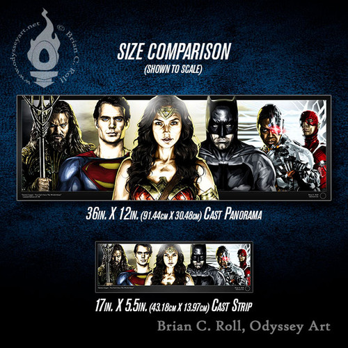 Justice League Cast Panorama and Cast Strip size comparison, Brian C. Roll, Odyssey Art