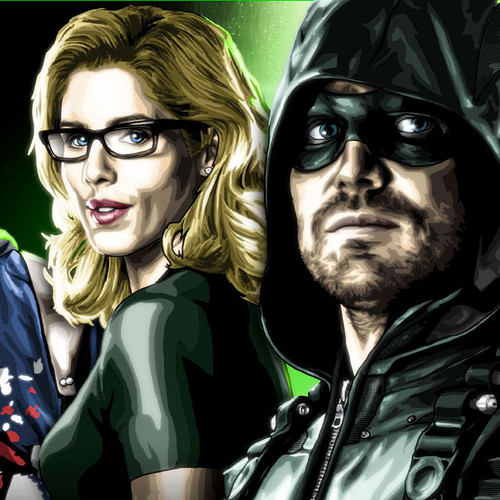"Arrow, The Old Guard & The New Recruits 17""x5.5"" Cast print, Stephen Amell, Brian C. Roll, Odyssey Art, thbnail"