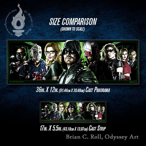 Arrow, The Old Gurad & The New Recruits Cast Panorama and Cast Strip size comparison, Brian C. Roll, Odyssey Art