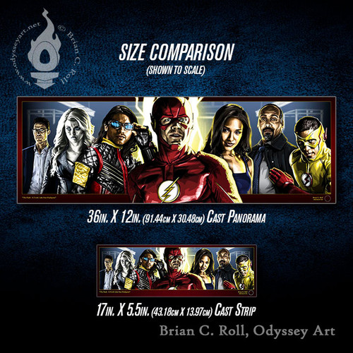 Flash: STAR Labs Flashpoint Cast Panorama and Cast Strip size comparison, Brian C. Roll, Odyssey Art