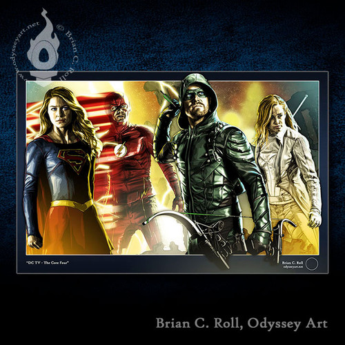 DCTV Core 4, Arrow, Flash, Supergirl, White Canary, Stephen Amell, Brian C. Roll, Odyssey Art