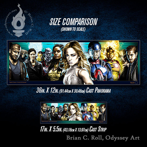 Legends of Tomorrow Cast Panorama and Cast Strip size comparison, Brian C. Roll, Odyssey Art