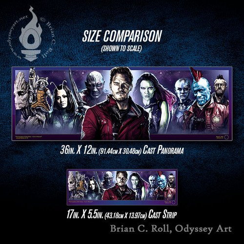 Guardians of the Galaxy Cast Panorama and Cast Strip size comparison, Brian C. Roll, Odyssey Art