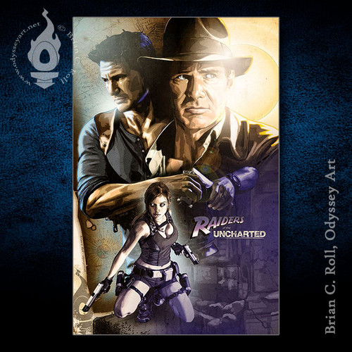 Raiders of the Uncharted, Indiana Jones, Nathan Drake, Lara Croft, Brian C. Roll, Odyssey Art