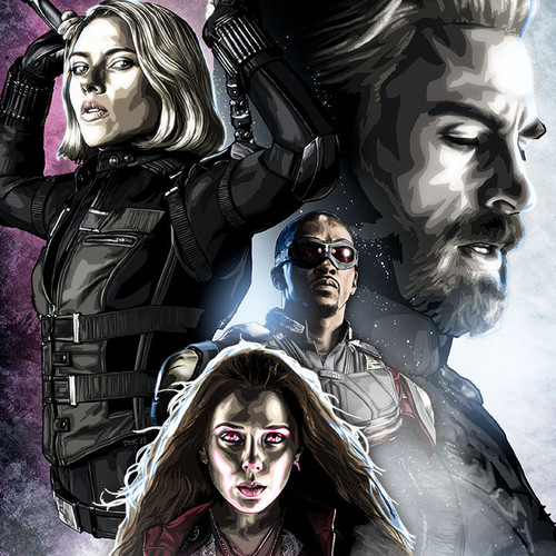 Captain America, Black Widow, Falcon, Scarlet Witch, Avengers, Brian C. Roll, Odyssey Art, thbnail
