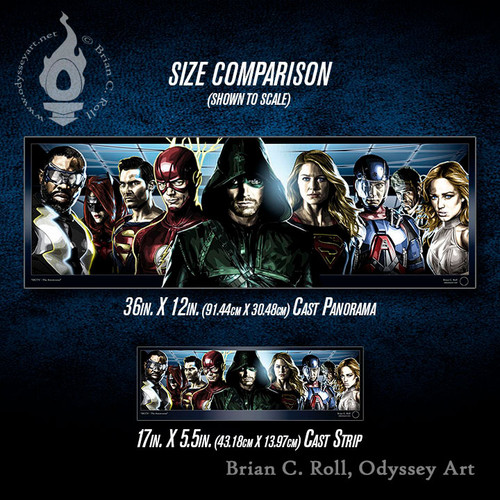 DCTV: Arrowverse Cast Panorama and Cast Strip size comparison, Brian C. Roll, Odyssey Art